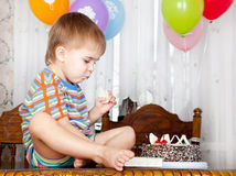 Boy with the cake Royalty Free Stock Photo
