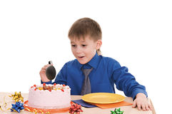 Boy with cake Royalty Free Stock Photography