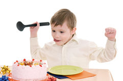 Boy with cake Royalty Free Stock Photos