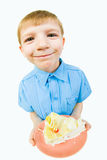 Boy with cake Stock Photos