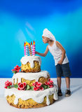 Boy with a cake Royalty Free Stock Photo