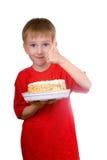 boy cake happy Стоковые Фотографии RF