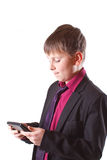 Boy with calculator Royalty Free Stock Photos
