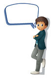 A boy and call out. Illustration of a boy and call out on a white background Royalty Free Stock Image
