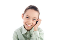 Boy calling on the cellphone Royalty Free Stock Images