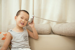 Boy calling Stock Photography