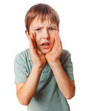 Boy calling kids cries shouts teenager opened his Stock Photography