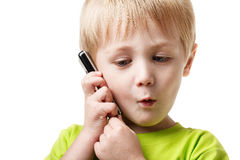 Boy calling phone Stock Photography
