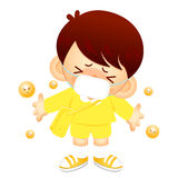 The boy came down with a cold. Education and life Character Desi Stock Photo