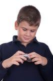 Boy with a camera Stock Photos