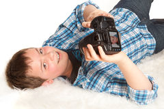 Boy with camera Stock Photo
