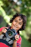Boy with a camera Stock Photos