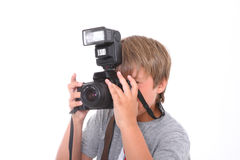 Boy with camera Stock Image