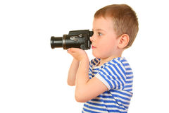 Boy with camera profile Royalty Free Stock Images