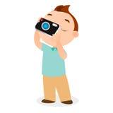 Boy with camera. Vector illustration eps 10 isolated on white background. Flat cartoon style Royalty Free Stock Photography