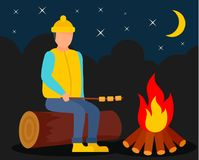 Boy at camp fire background, flat style. Boy at camp fire background. Flat illustration of boy at camp fire vector background for web design Stock Photography