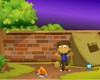 Boy camper. Illustration of boy camping at home Royalty Free Stock Images