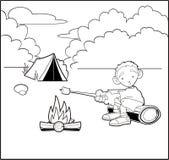 Boy camping Stock Photo