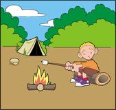 Boy camping Stock Photography