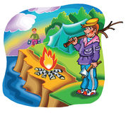 Boy camping on river bank with fire and tent. Illustration Stock Photography