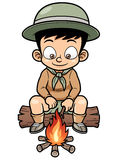 Boy camping. Vector illustration of Boy camping Stock Image
