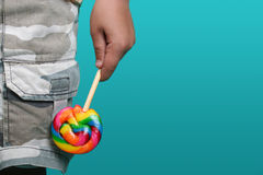 Boy with candy Royalty Free Stock Images