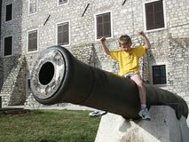 Boy and cannon Stock Photo