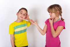 Boy Cannot hear so he needs a hearing aid Royalty Free Stock Photography