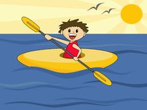 Boy in Canoe. Cute cartoon boy in canoe Stock Image