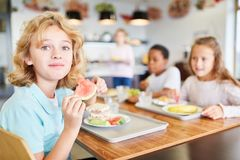 Boy in the canteen at lunch. Happy boy and his friends eat in the canteen of the elementary school stock images