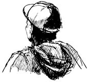 Boy with cap. Young man boy with cap from back illustration Stock Photography