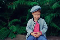 The boy in a cap Stock Photo