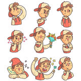 Boy In Cap And College Jacket Collection Of Hand Drawn Emoticon Cool Outlined Portraits Royalty Free Stock Image