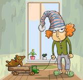 Boy in cap. Boy in a cap with old toys, vector illustration Royalty Free Stock Photos