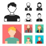 Boy in a cap, redheaded teenager, grandfather with a beard, a woman.Avatar set collection icons in black, flat style. Vector symbol stock illustration Stock Photos