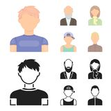 Boy in a cap, redheaded teenager, grandfather with a beard, a woman.Avatar set collection icons in cartoon,black style. Vector symbol stock illustration Stock Photos