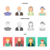 Boy in a cap, redheaded teenager, grandfather with a beard, a woman.Avatar set collection icons in cartoon,flat. Monochrome style vector symbol stock Stock Photos