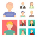 Boy in a cap, redheaded teenager, grandfather with a beard, a woman.Avatar set collection icons in cartoon,flat style. Vector symbol stock illustration Royalty Free Stock Image