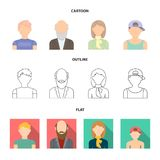 Boy in a cap, redheaded teenager, grandfather with a beard, a woman.Avatar set collection icons in cartoon,outline,flat. Style vector symbol stock illustration Stock Images