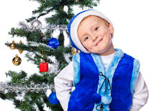 Boy in a cap of Santa Claus Royalty Free Stock Image