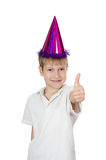 The boy in a cap  on white background Stock Photos