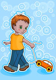 Boy with car Stock Images