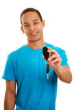 Boy with car key. Boy holding car key (focus on the key Royalty Free Stock Images