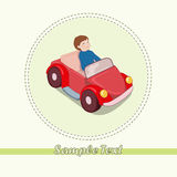 Boy in the car. Little boy in the new red car royalty free illustration
