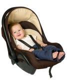 Boy in car seat, safety concept Stock Photos