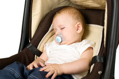 Boy in car seat, safety concept Royalty Free Stock Photography