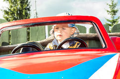 Boy in the car Stock Photo