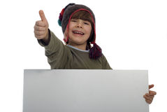 Boy with a card Stock Photography