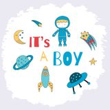 It is a boy card for a baby shower with a little astronaut, plan. Et, comet, ufo and rocket. Vector illustration royalty free illustration