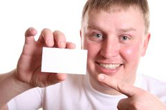Boy with card for text Royalty Free Stock Image